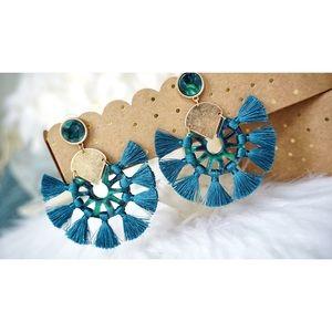 Jewelry - NEW! Acrylic Stud Post Tassel Hoop Earrings